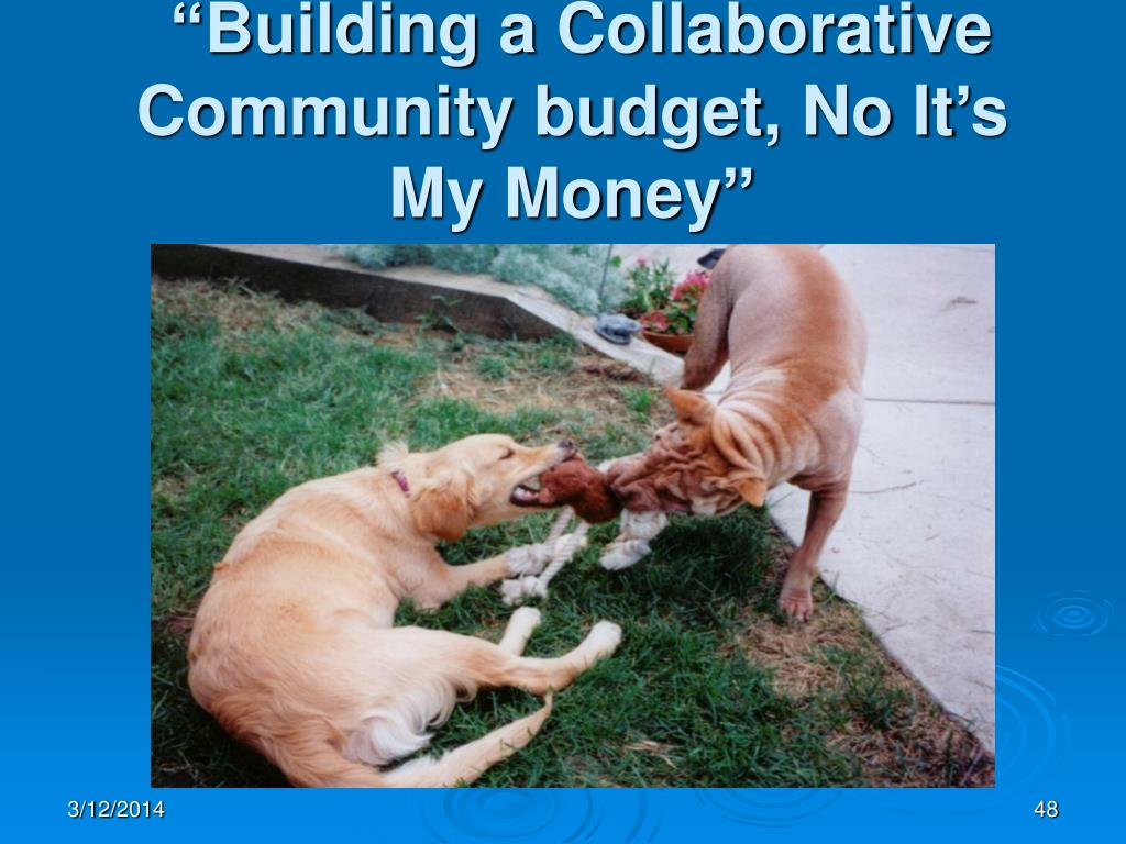 """Building a Collaborative Community budget, No It's My Money"""
