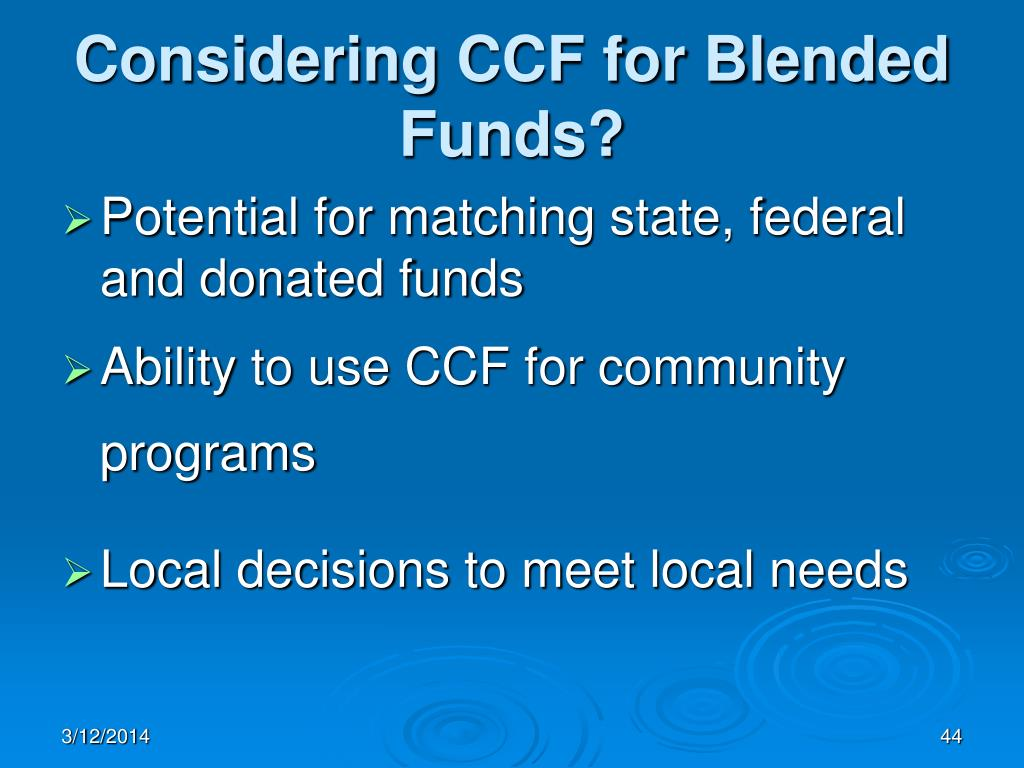 Considering CCF for Blended Funds?