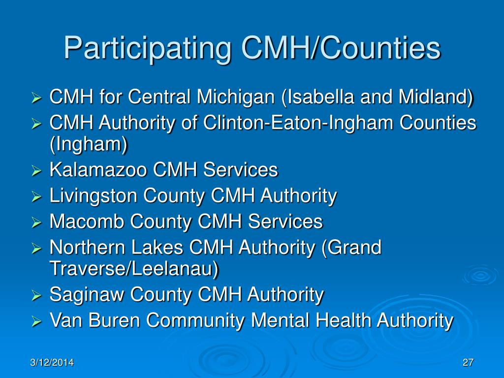 Participating CMH/Counties