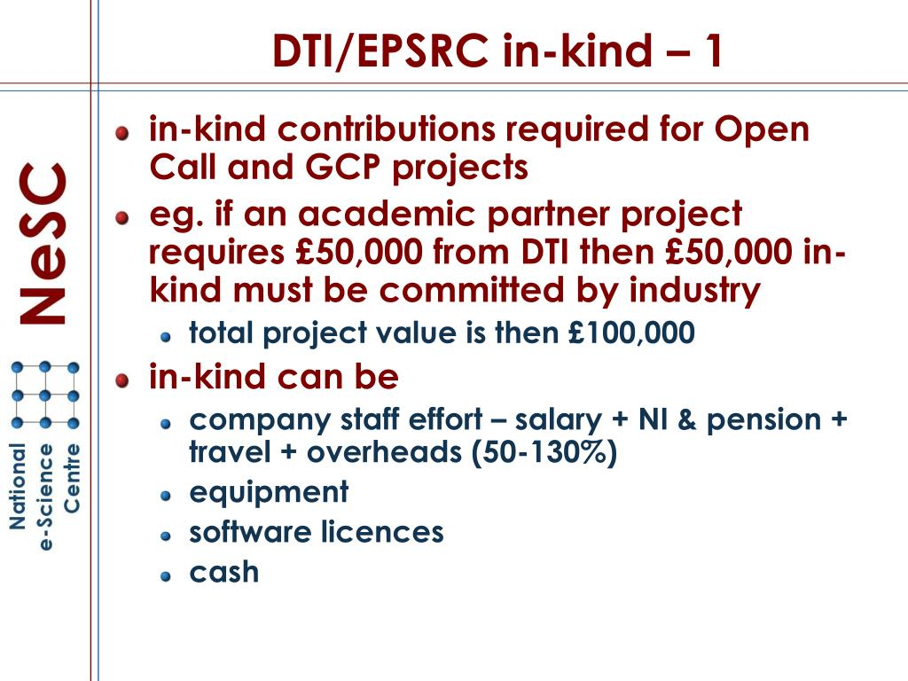 DTI/EPSRC in-kind – 1