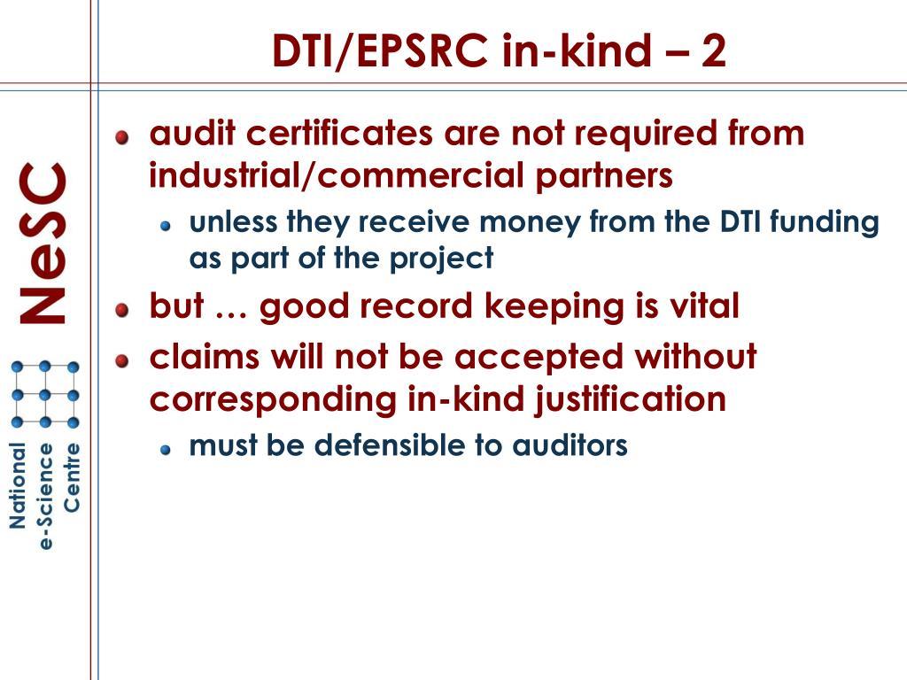 DTI/EPSRC in-kind – 2