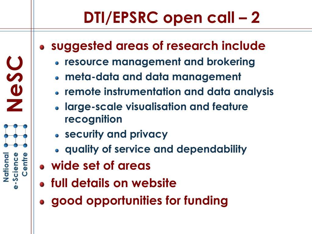 DTI/EPSRC open call – 2