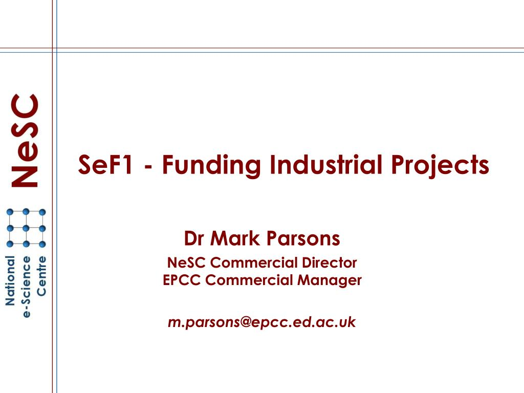 sef1 funding industrial projects l.