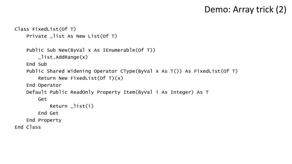 Demo: Array trick (2)