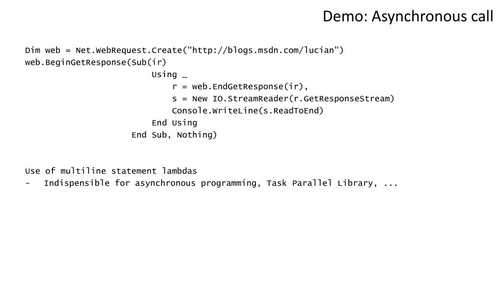Demo: Asynchronous call