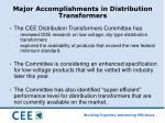 major accomplishments in distribution transformers