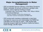 major accomplishments in motor management