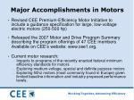 major accomplishments in motors