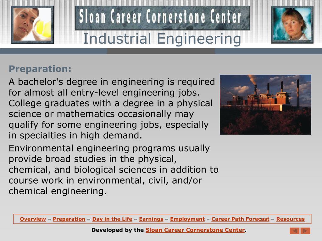 the categories of career of industrial engineer