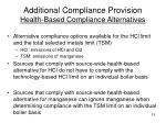 additional compliance provision health based compliance alternatives