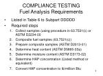 compliance testing fuel analysis requirements