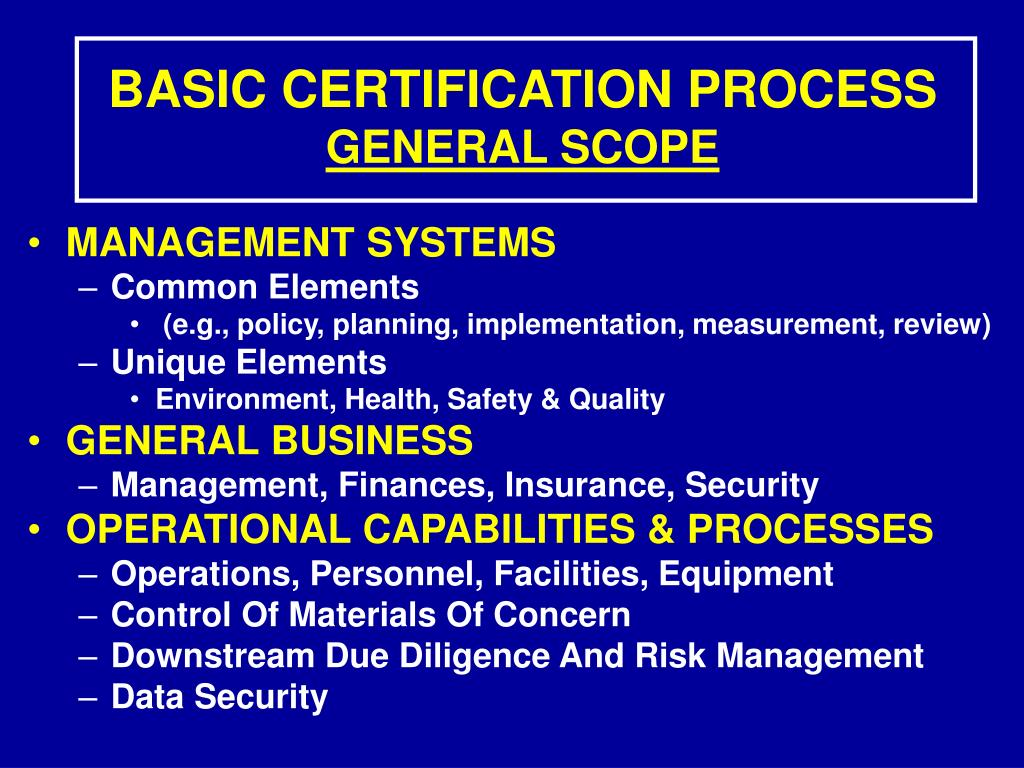 BASIC CERTIFICATION PROCESS
