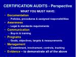 certification audits perspective