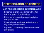 certification readiness