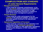 examples from iaer standard of some general requirements