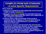 examples from iaer standard of some specific requirements