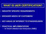 what is iaer certification