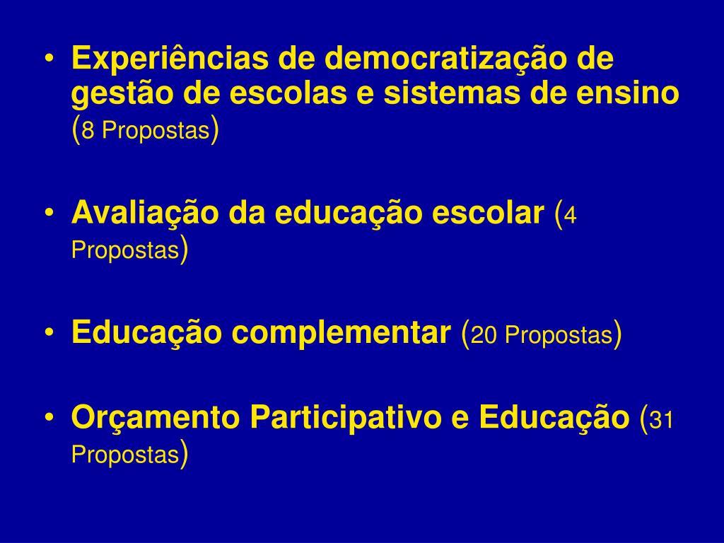 Experiências de democratização de gestão de escolas e sistemas de ensino