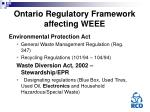 ontario regulatory framework affecting weee