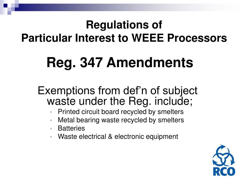 Regulations of