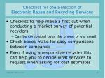 checklist for the selection of electronic reuse and recycling services