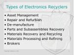 types of electronics recyclers