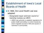 establishment of iowa s local boards of health