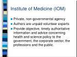 institute of medicine iom