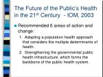 the future of the public s health in the 21 st century iom 2003