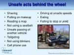 unsafe acts behind the wheel