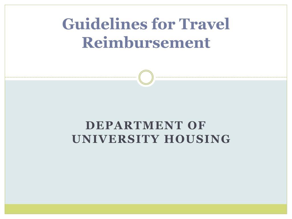 guidelines for travel reimbursement l.