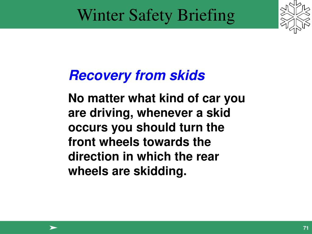 Recovery from skids
