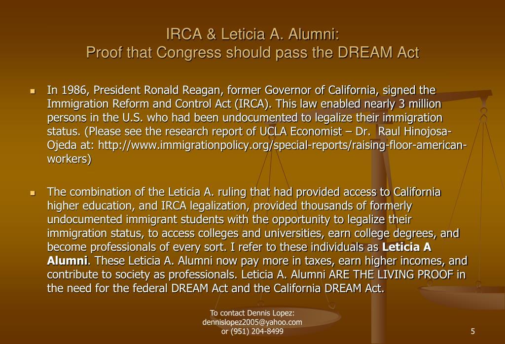 IRCA & Leticia A. Alumni:
