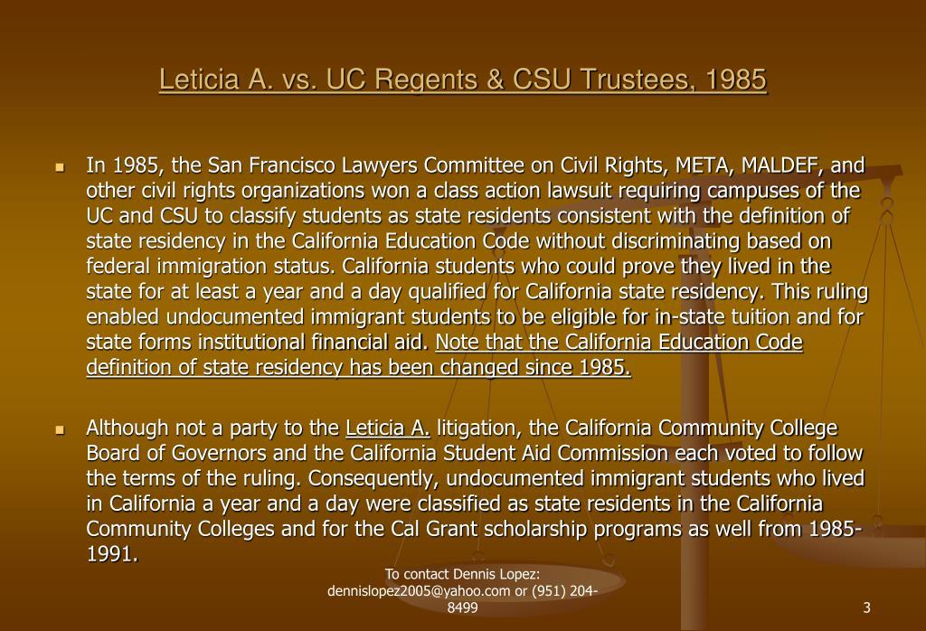 Leticia A. vs. UC Regents & CSU Trustees, 1985