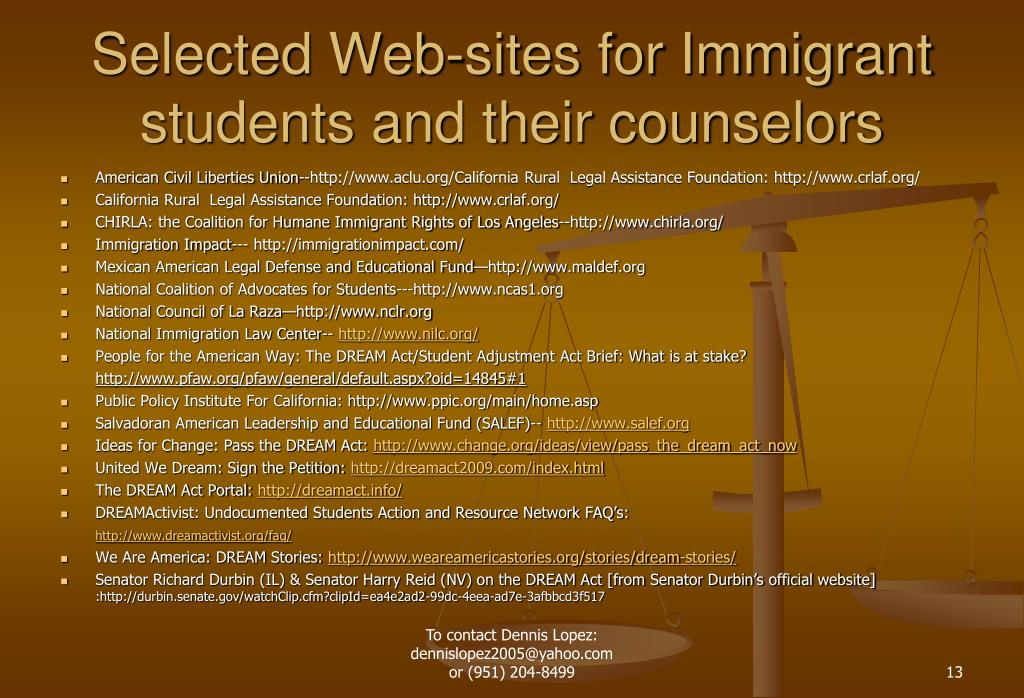 Selected Web-sites for Immigrant students and their counselors