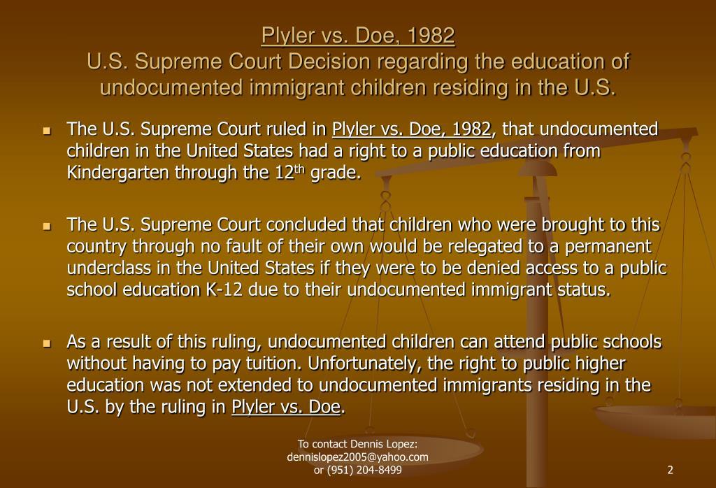 Plyler vs. Doe, 1982