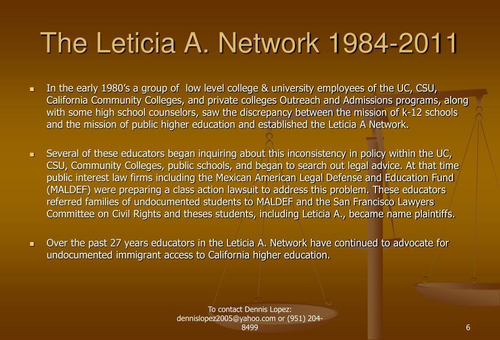 The Leticia A. Network 1984-2011
