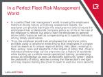 in a perfect fleet risk management world