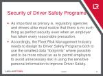 security of driver safety programs