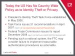 today the us has no country wide policy as to identity theft or privacy