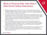 what is personal data how does it affect driver safety assessment