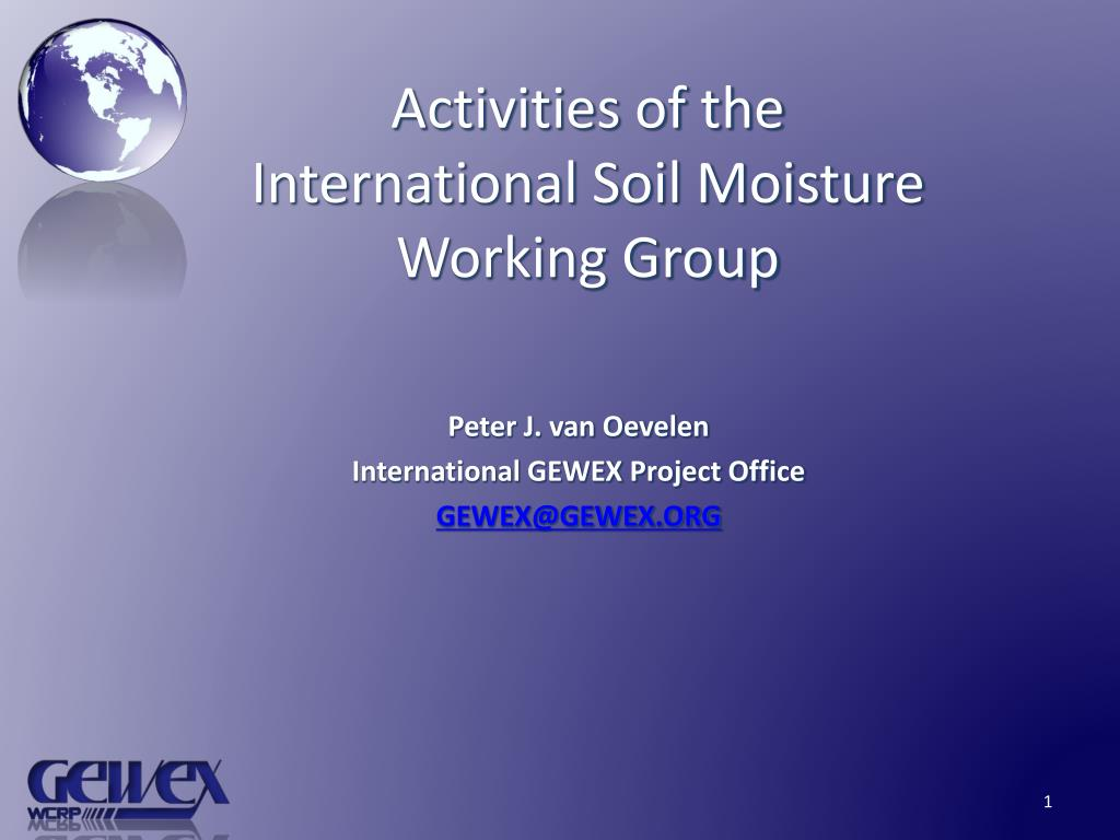 activities of the international soil moisture working group l.