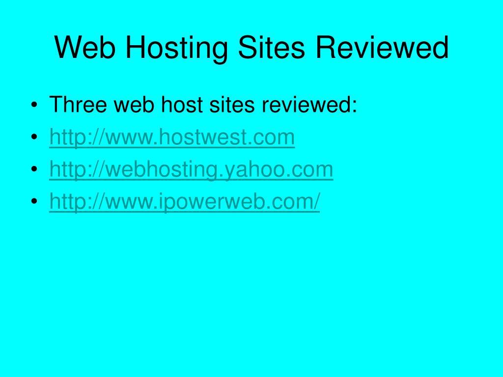 Web Hosting Sites Reviewed