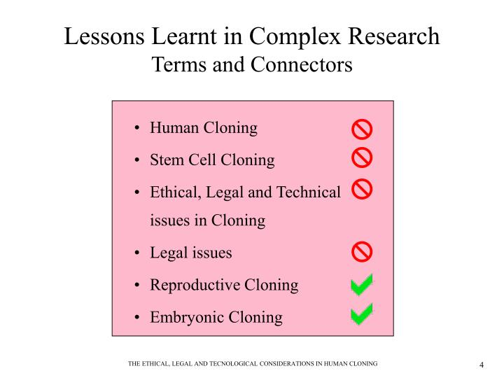 legalizing human cloning It is a bill to legitimize the use of cloning in order to create any number of human embryos for use in research that will kill them the killing of human embryos is opposed by 75% of the public.