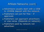 affiliate networks cont