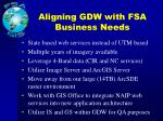 aligning gdw with fsa business needs