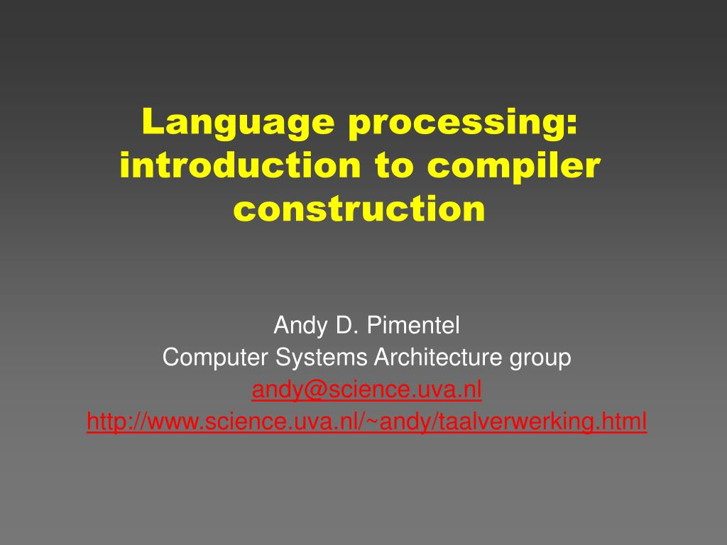 language processing introduction to compiler construction l.