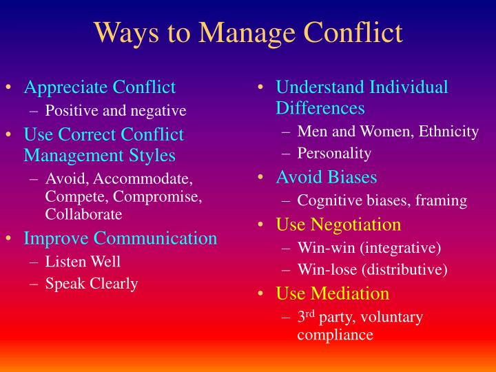 ways to manage conflict n.