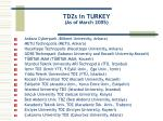 tdzs in turkey as of march 200 5
