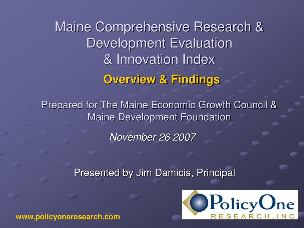 maine comprehensive research development evaluation innovation index overview findings l.